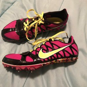 Nike Zoom Women's Pink and Yellow Track Cleats